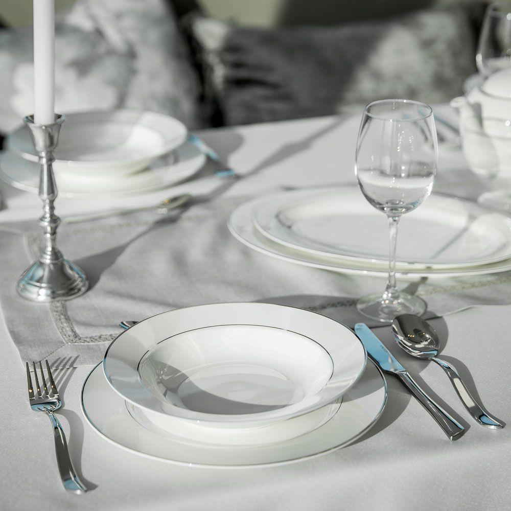 Talerz deserowy Aura Silver 19 cm AMBITION