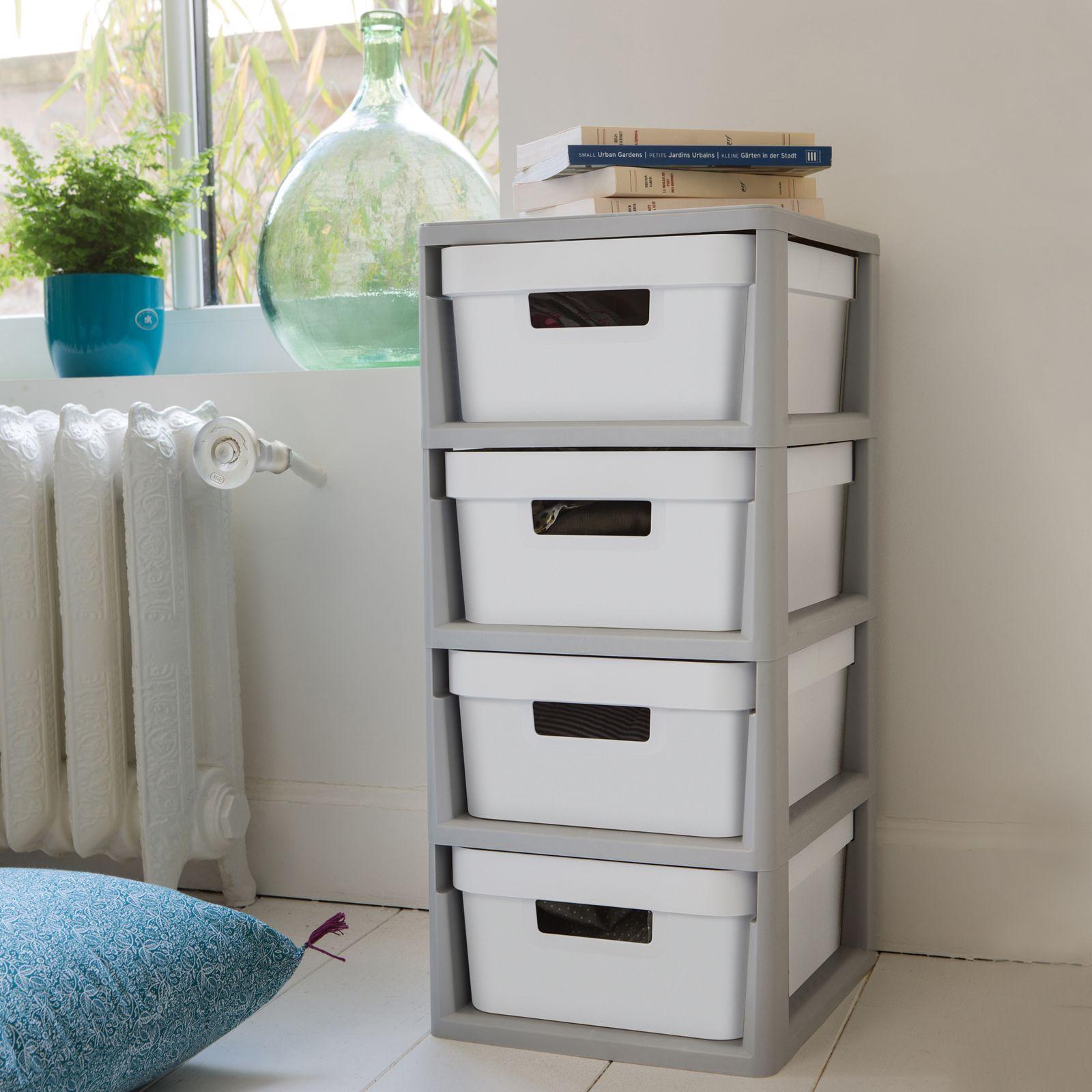 Regał z 4 szufladami 30 x 36 x 69 cm szaro-biały CURVER