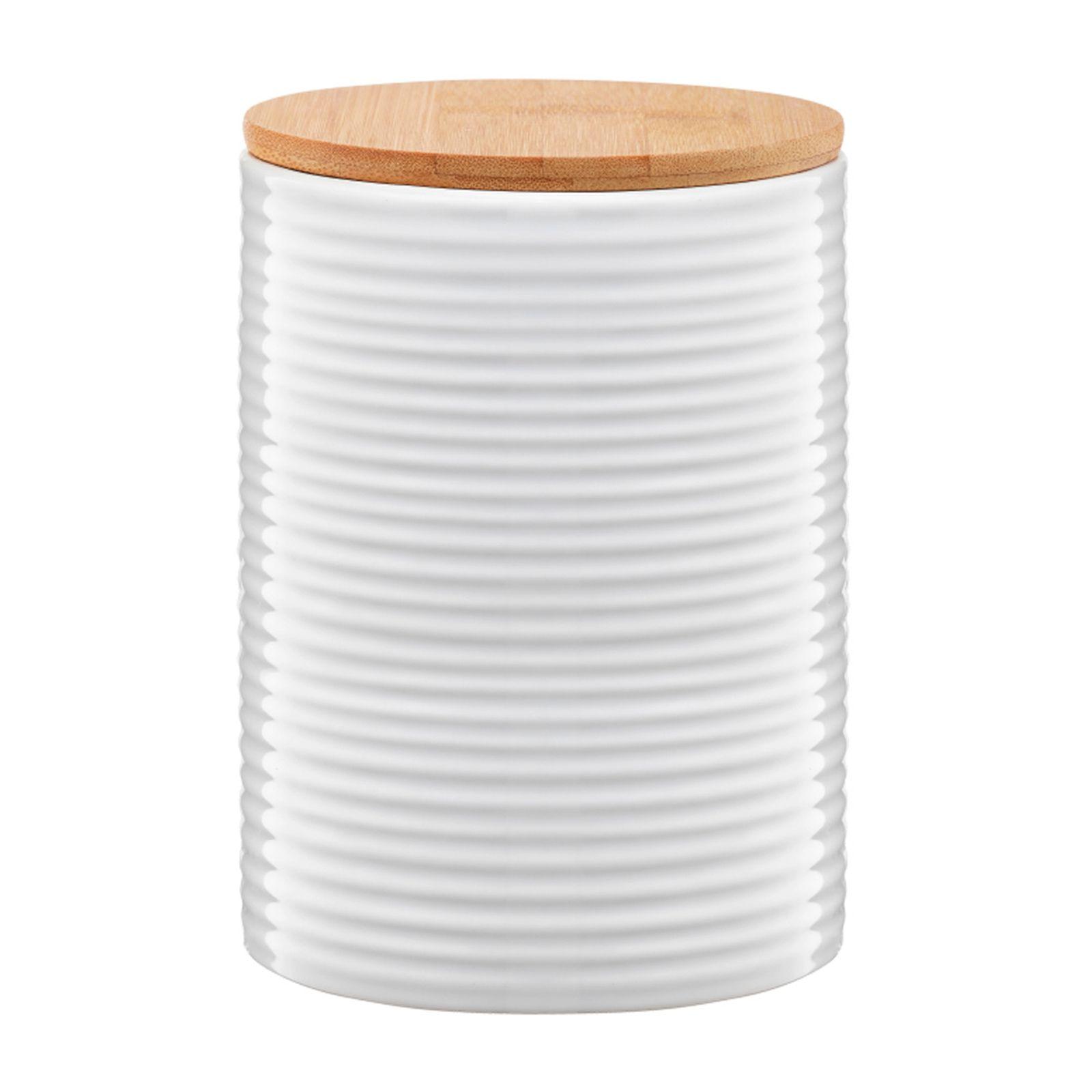Pojemnik ceramiczny Tuvo paski z bambusową pokrywką 1110 ml AMBITION