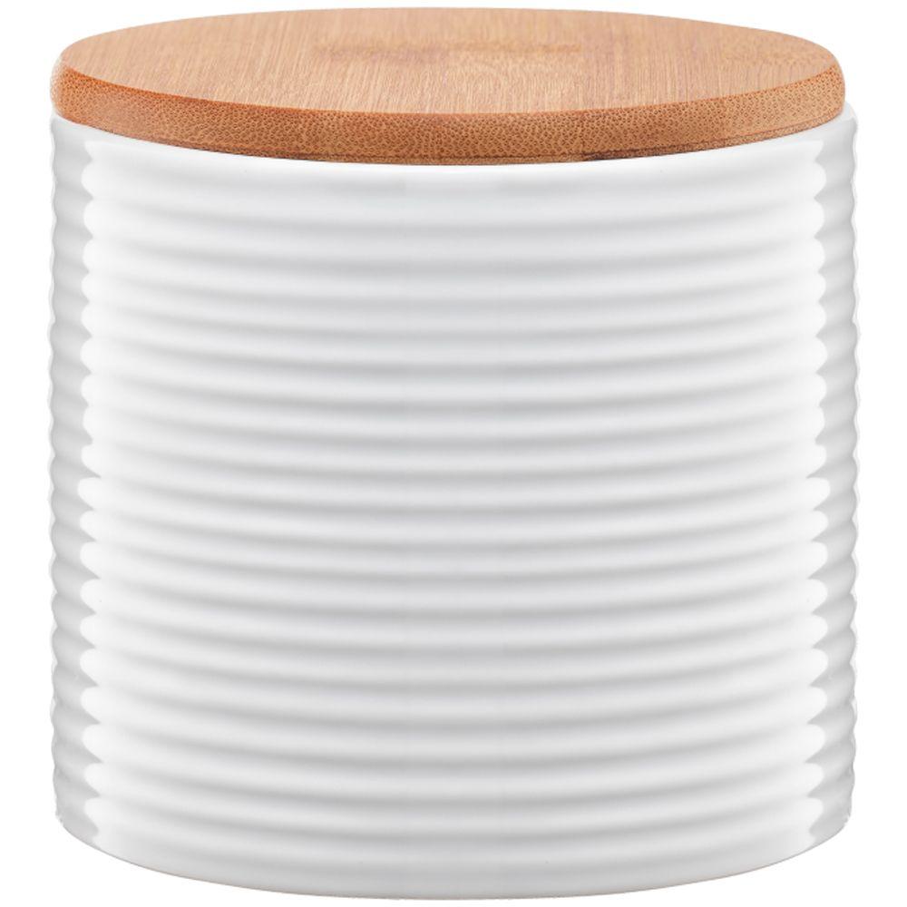 Pojemnik ceramiczny Tuvo paski z bambusową pokrywką 670 ml AMBITION