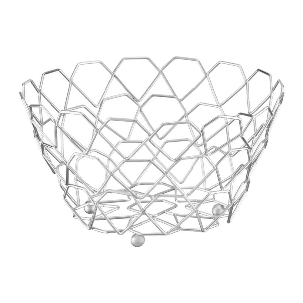 Metal fruit basket 28 cm silver DOMOTTI