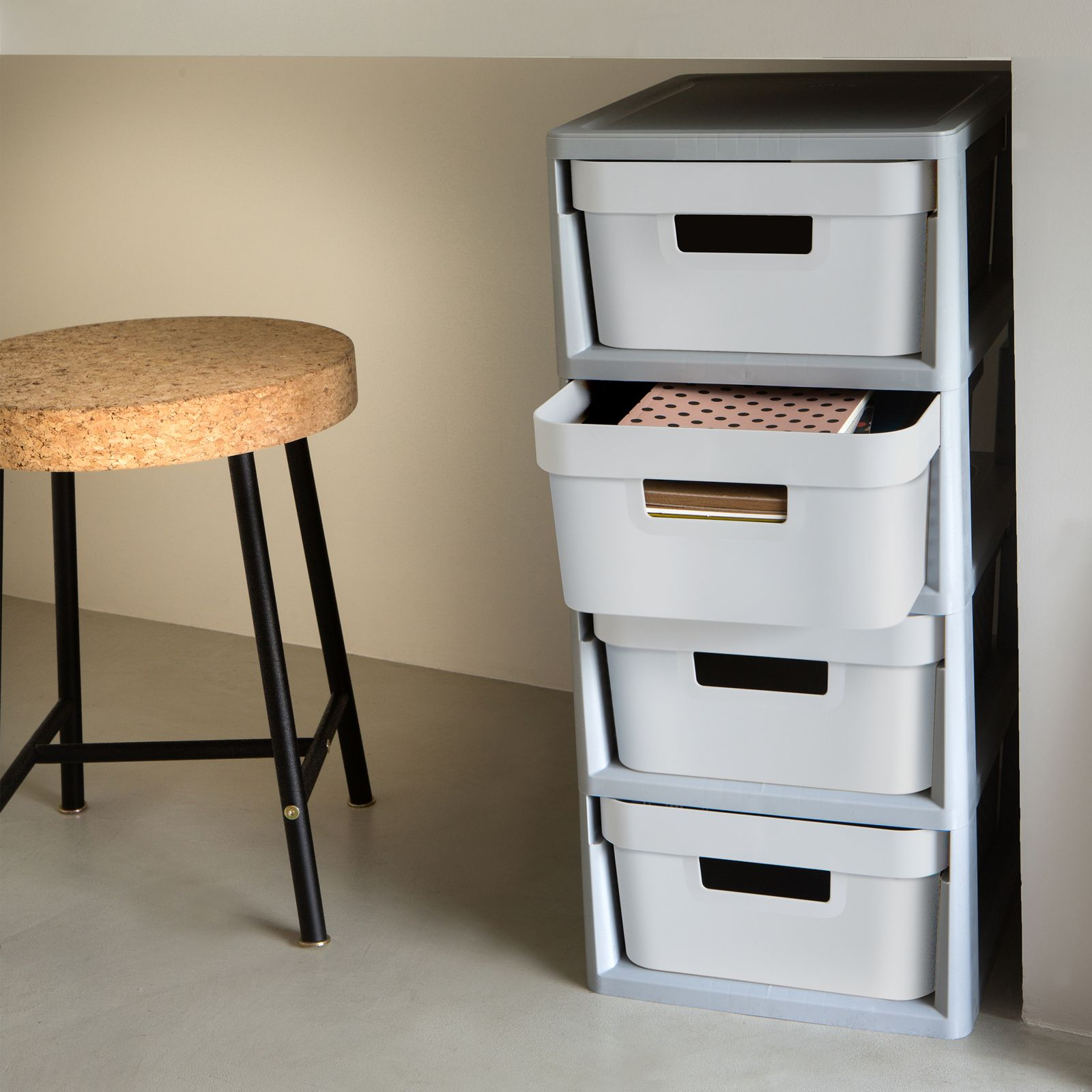 Regał składany z 4 szufladami Infinity 30 x 36 x 69 cm szaro-biały CURVER