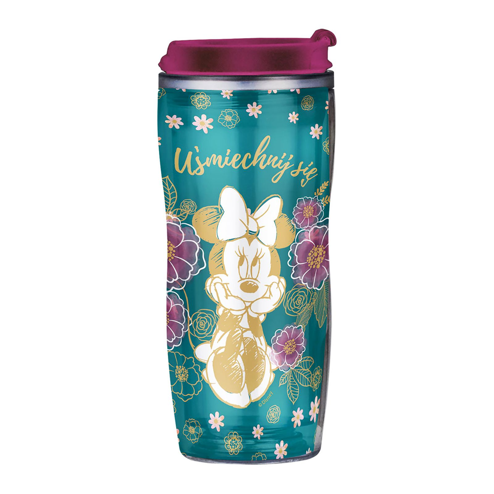 Mug / Water bottle Minnie Flowers Green with removable decoration 400 ml DISNEY
