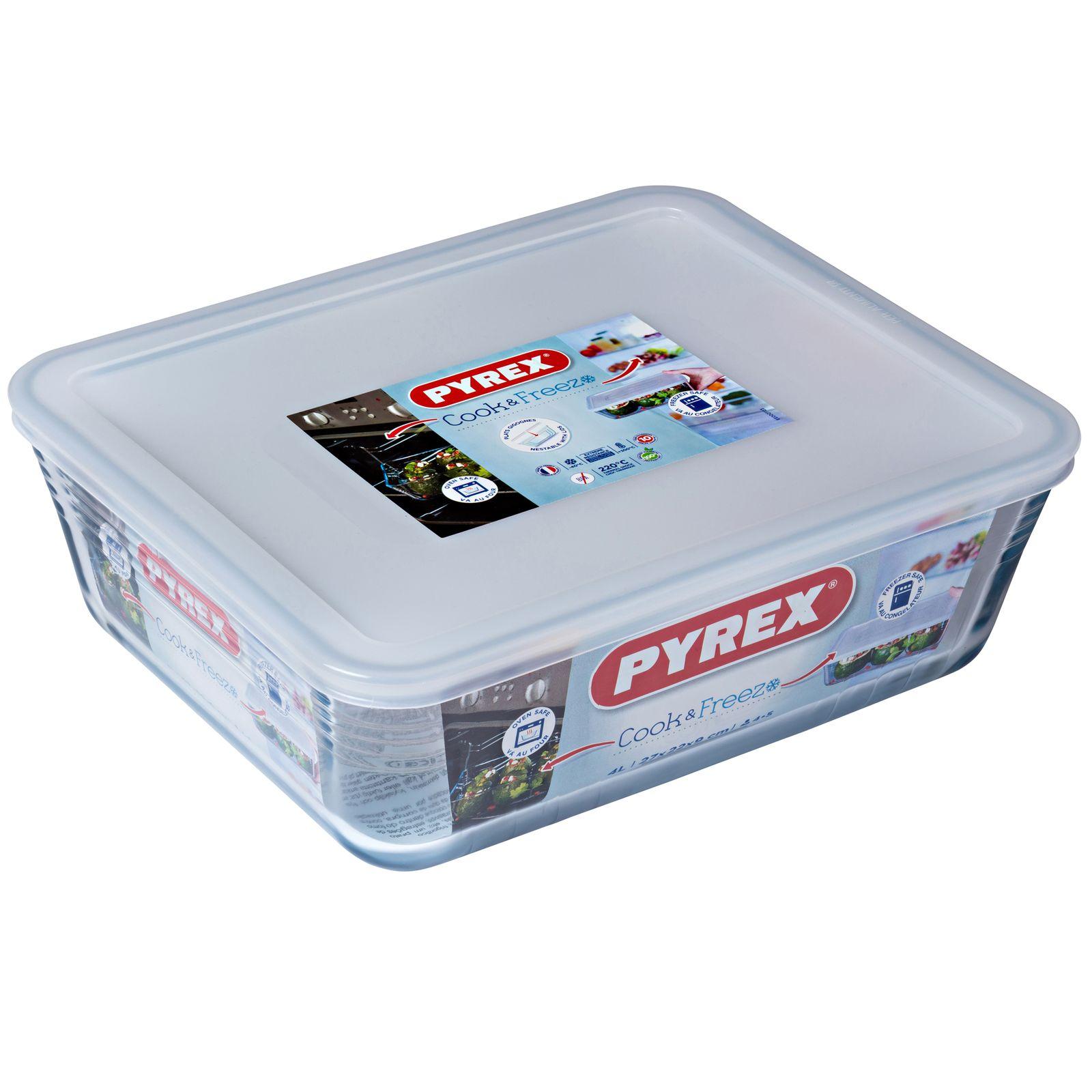 Naczynie żaroodporne z plastikową pokrywką Cook & Freeze  27 x 23 cm 4 l PYREX