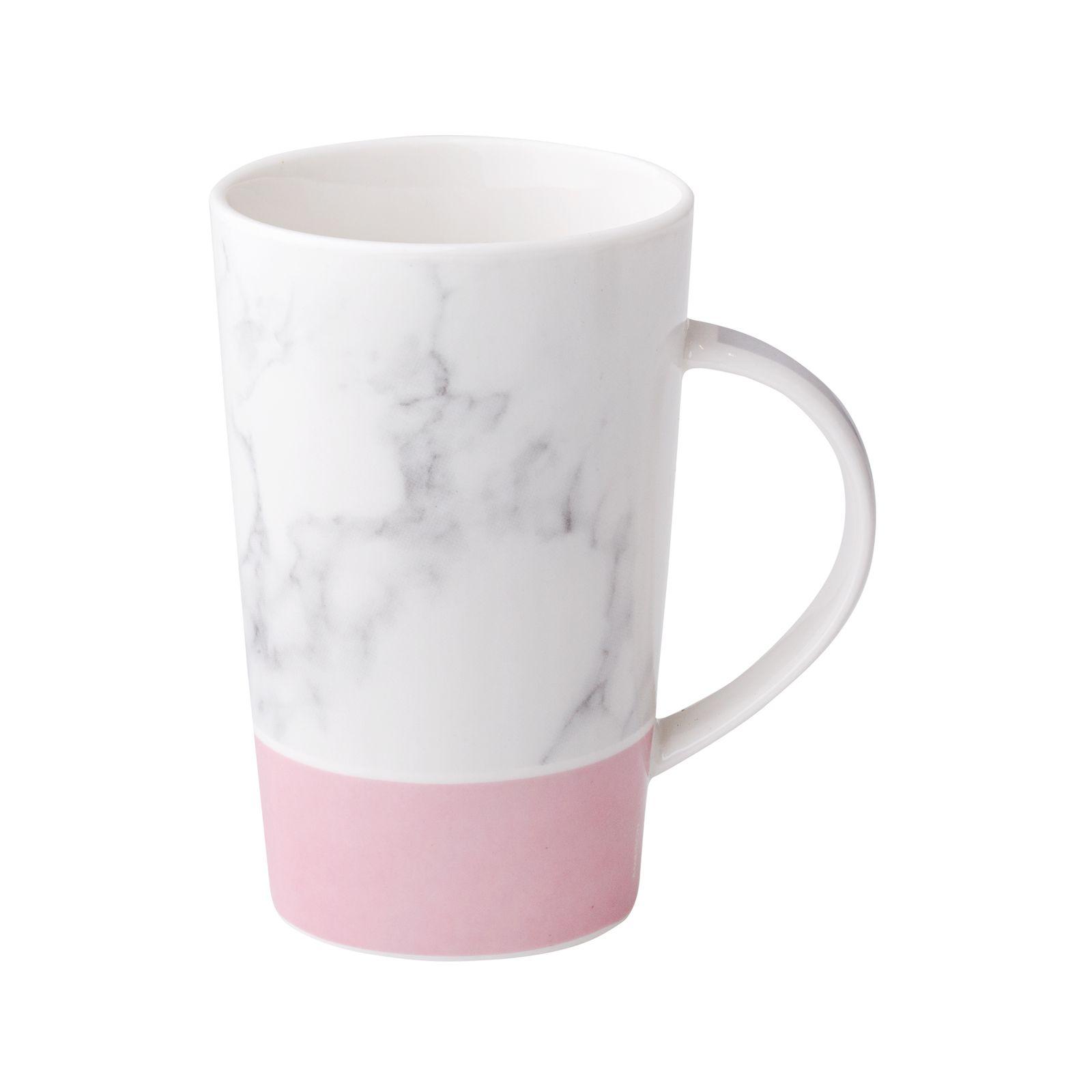 Kubek porcelanowy 430 ml Marble różowy AMBITION