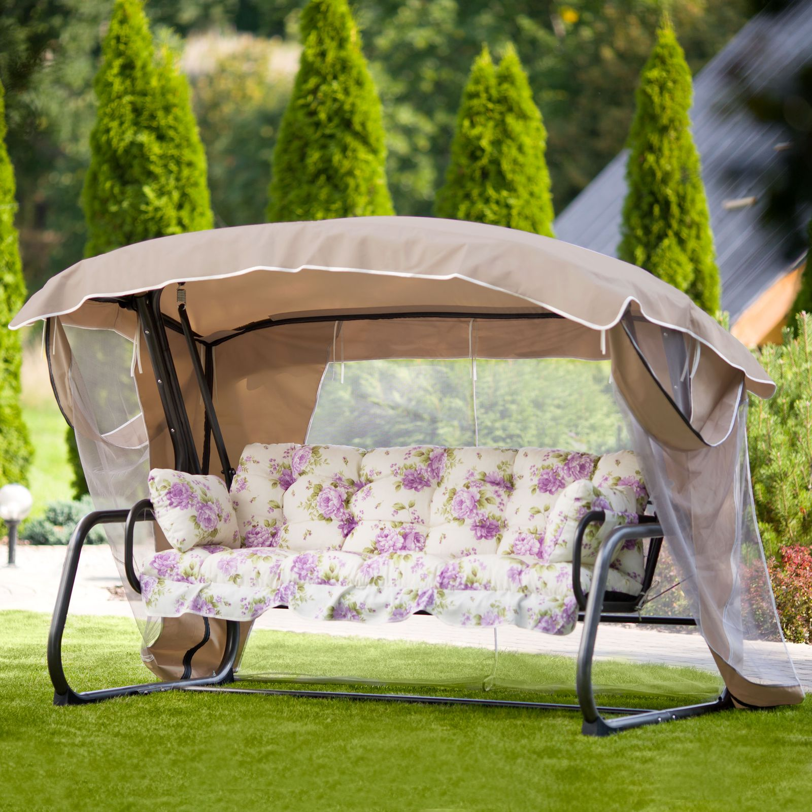 Záhradná hojdačka Ravenna Lux s moskytiérou A039-08LB PATIO