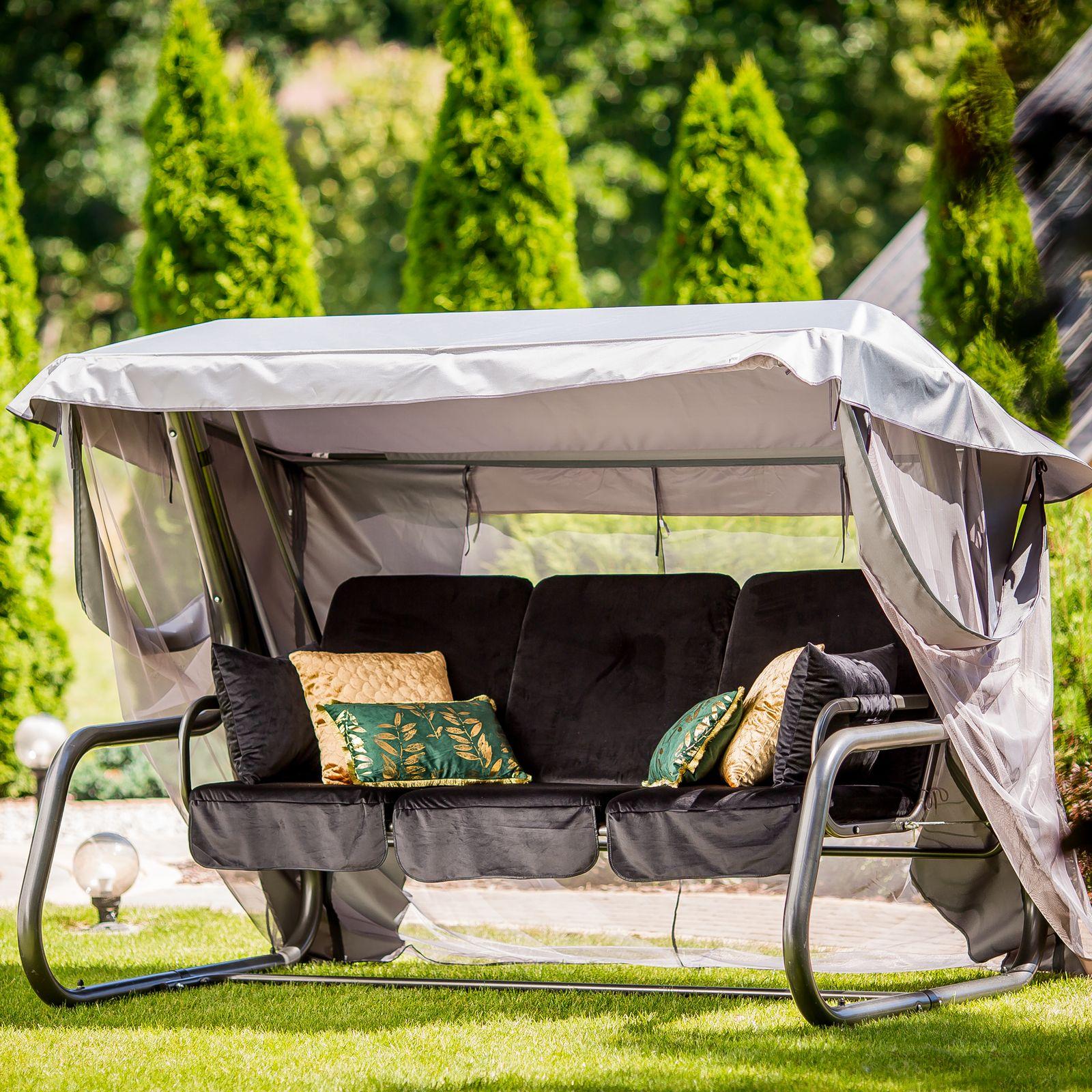Huśtawka ogrodowa Venezia Lux welur ze stolikami bocznymi D036-07WB PATIO