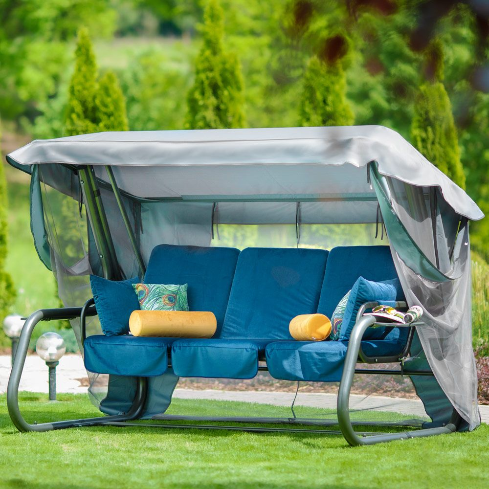 Huśtawka ogrodowa Venezia Lux welur  ze stolikami D036-01WB PATIO