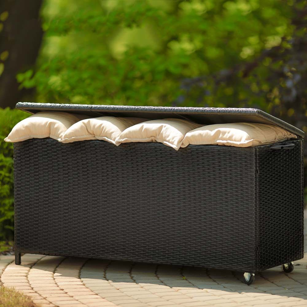 Skrzynia ogrodowa na poduszki czarny 129 x 50 x 62 cm PATIO