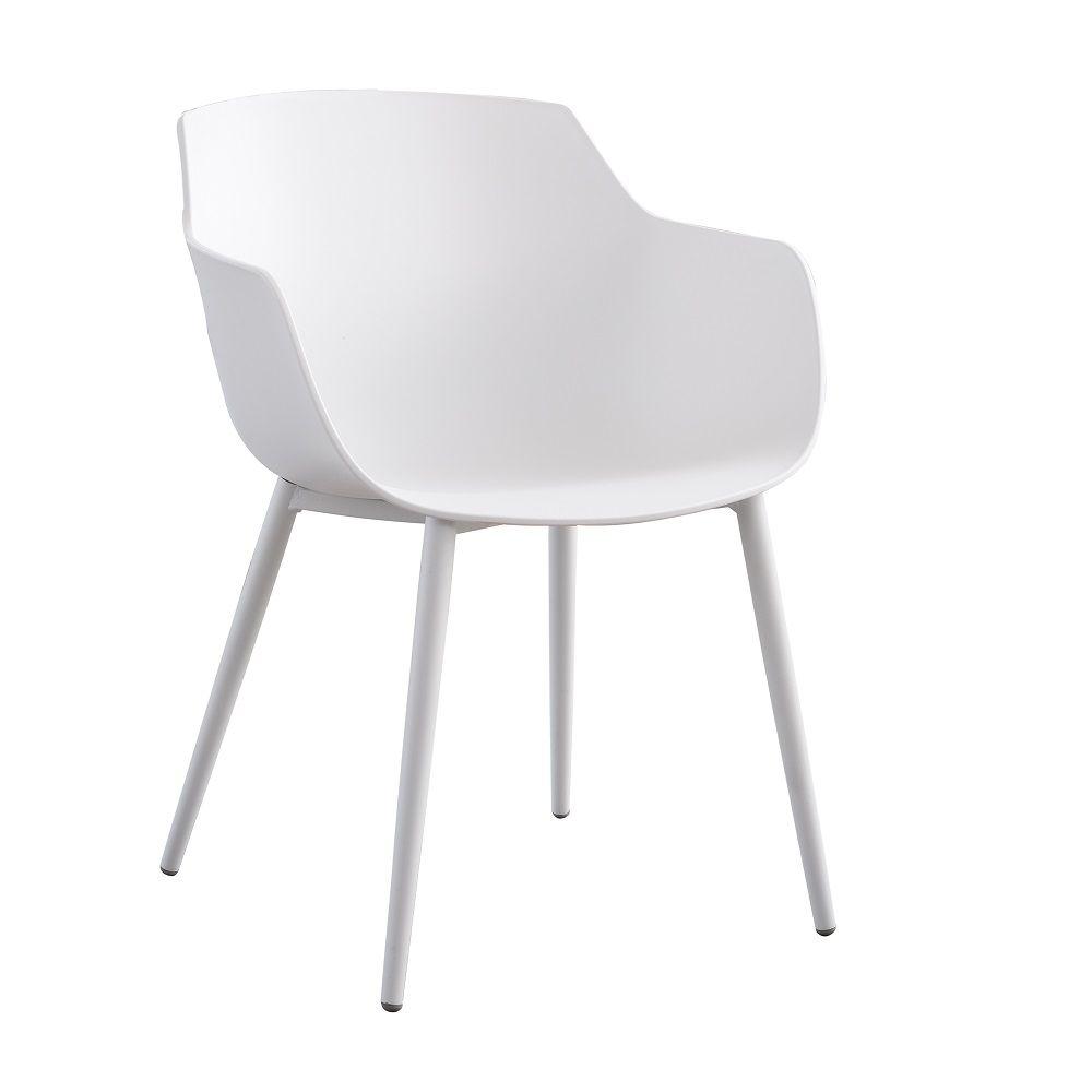 Krzesło kubełkowe z podłokietnikami Kaia białe PATIO