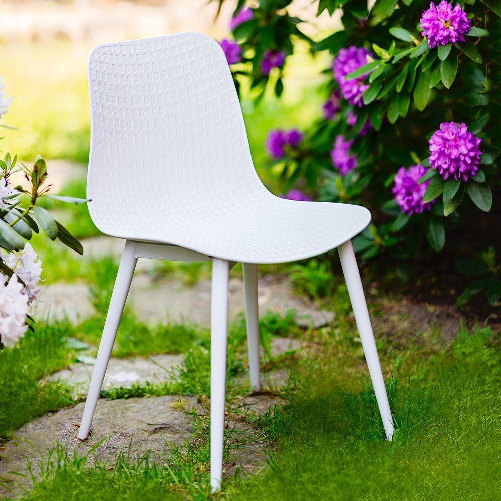 Krzesło kubełkowe Kaia białe PATIO