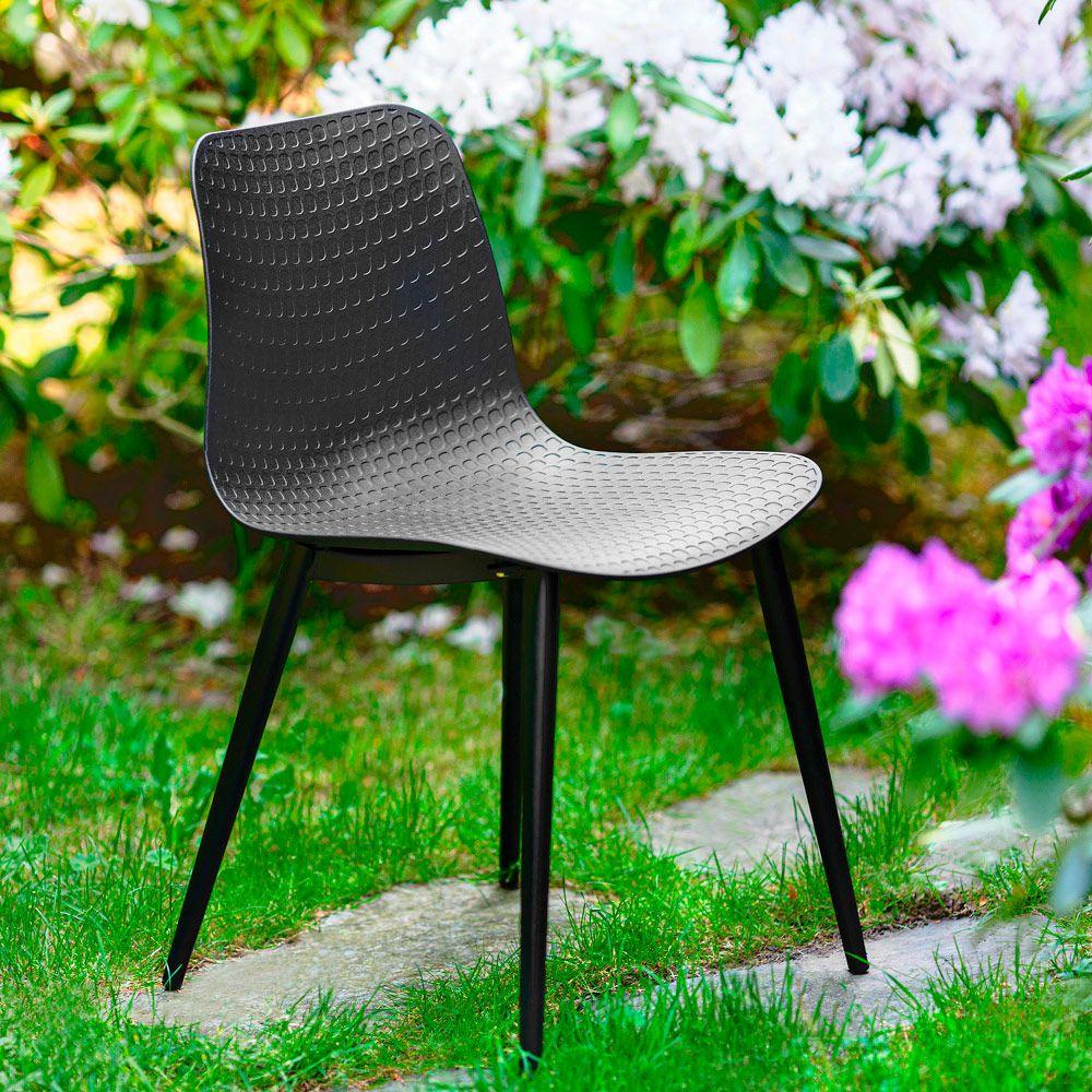 Krzesło kubełkowe Kaia czarne PATIO