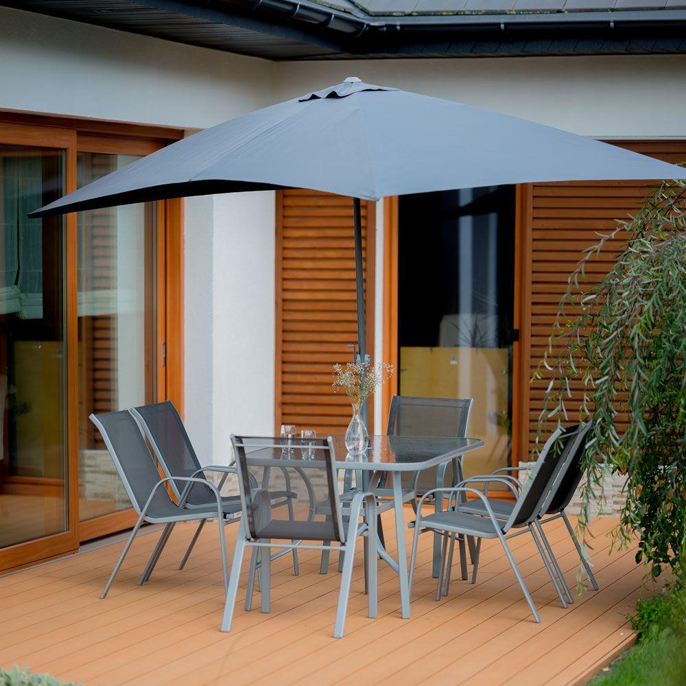 Komplet mebli ogrodowych z parasolem Evora srebrny PATIO