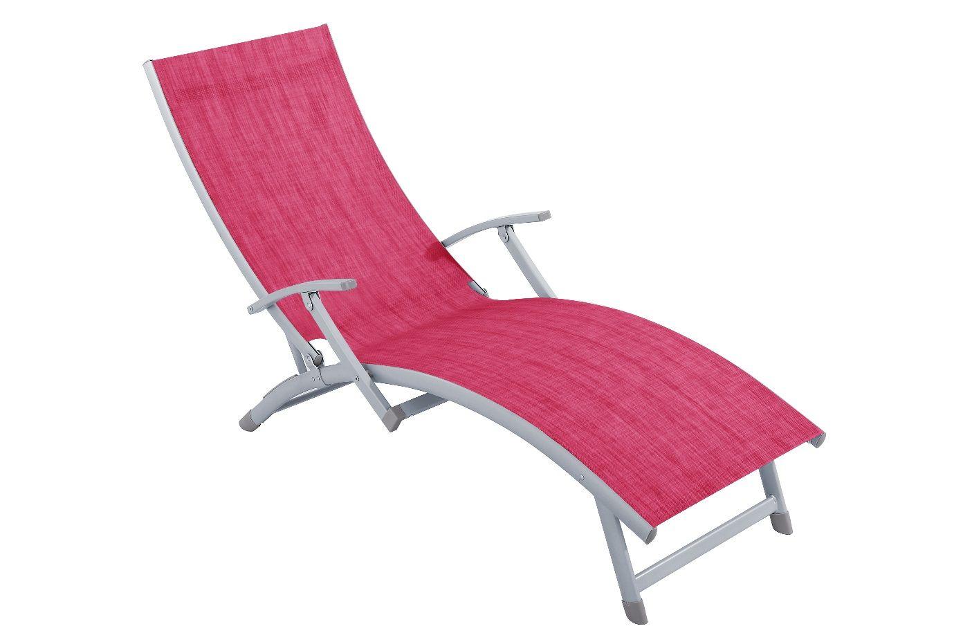 Șezlong/pat de plajă cu 4 poziții fuchsia PATIO