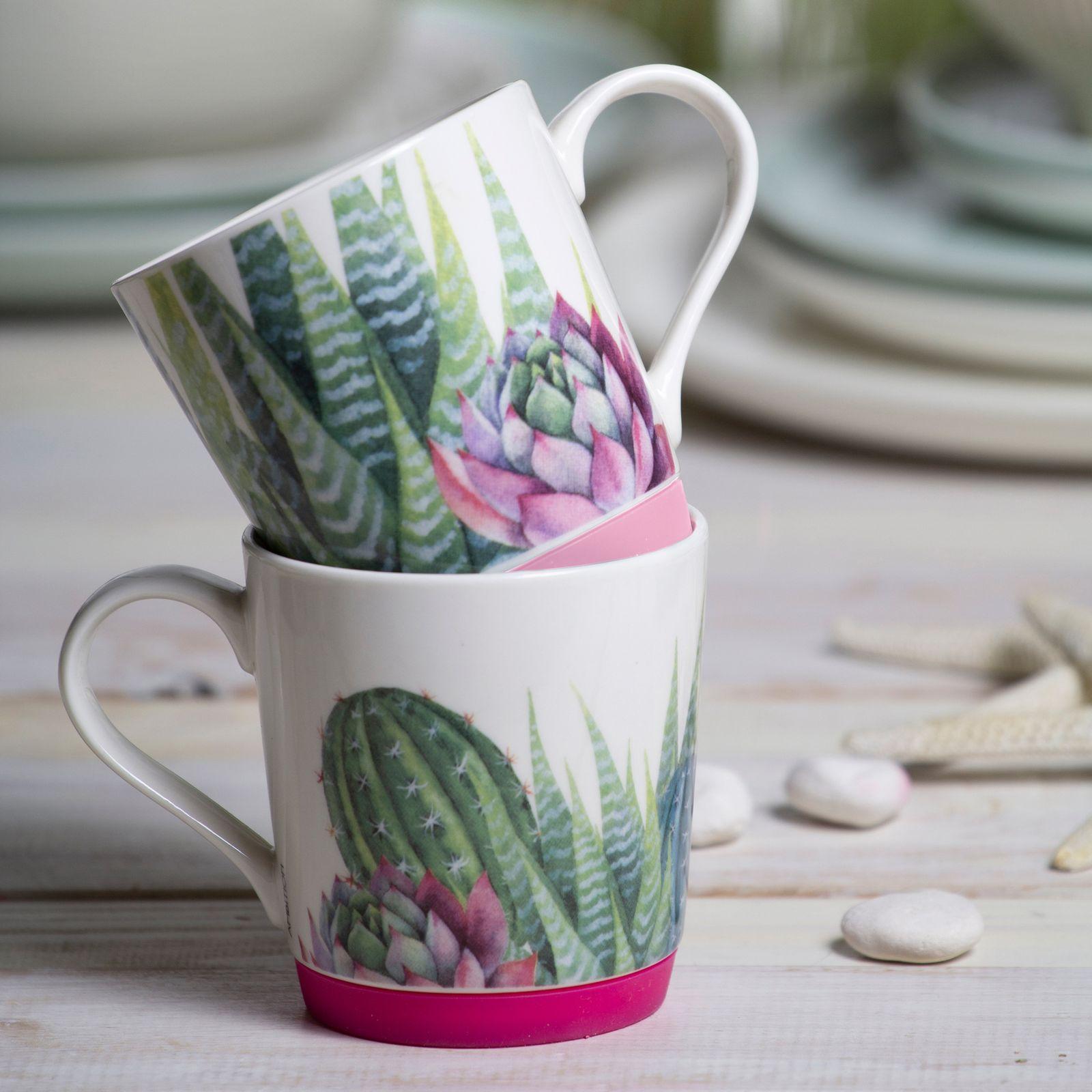 Kubek porcelanowy z silikonową podstawką Cactus 320 ml jasny różowy AMBITION