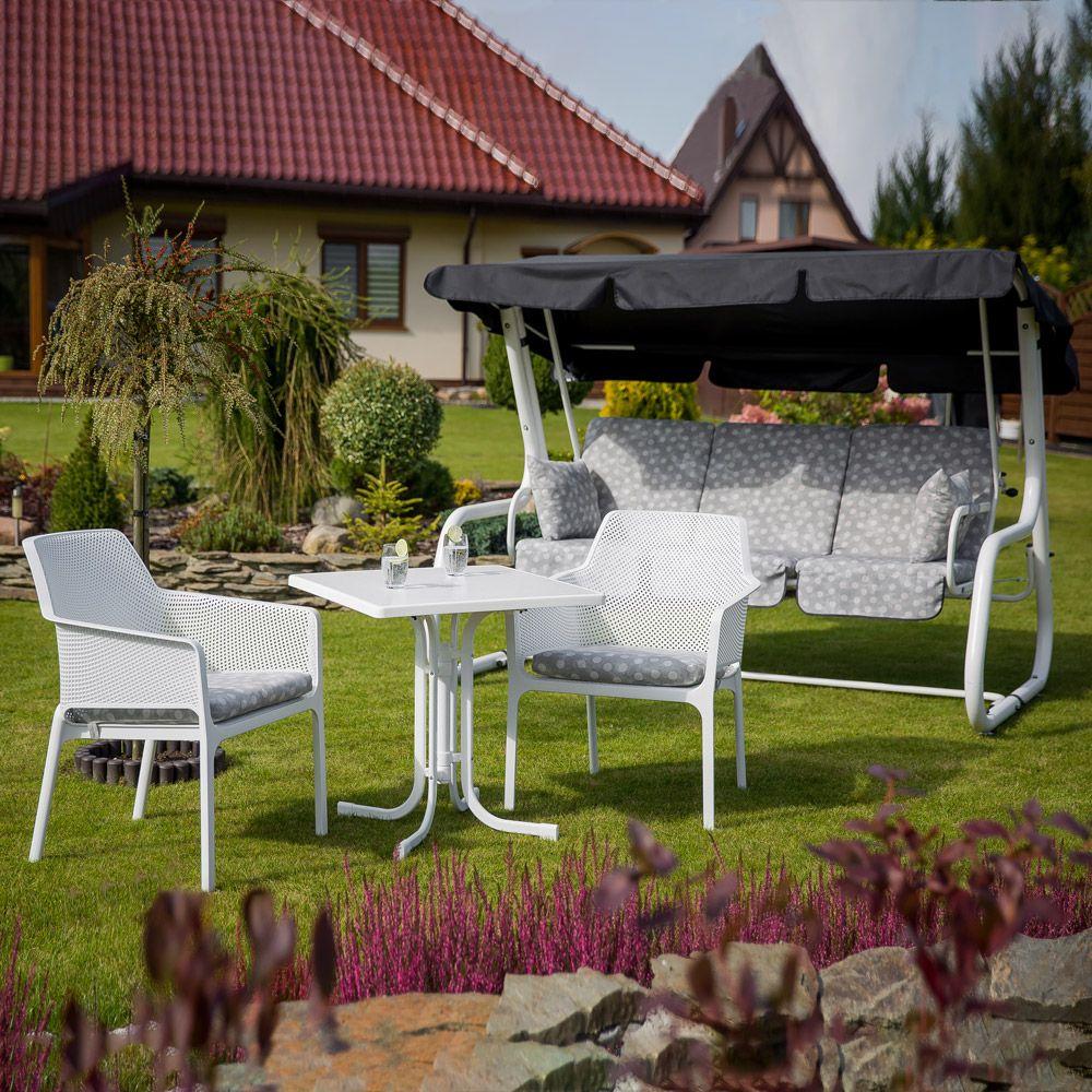 Stół Dine & Relax 70 x 70 cm marble / biały PATIO