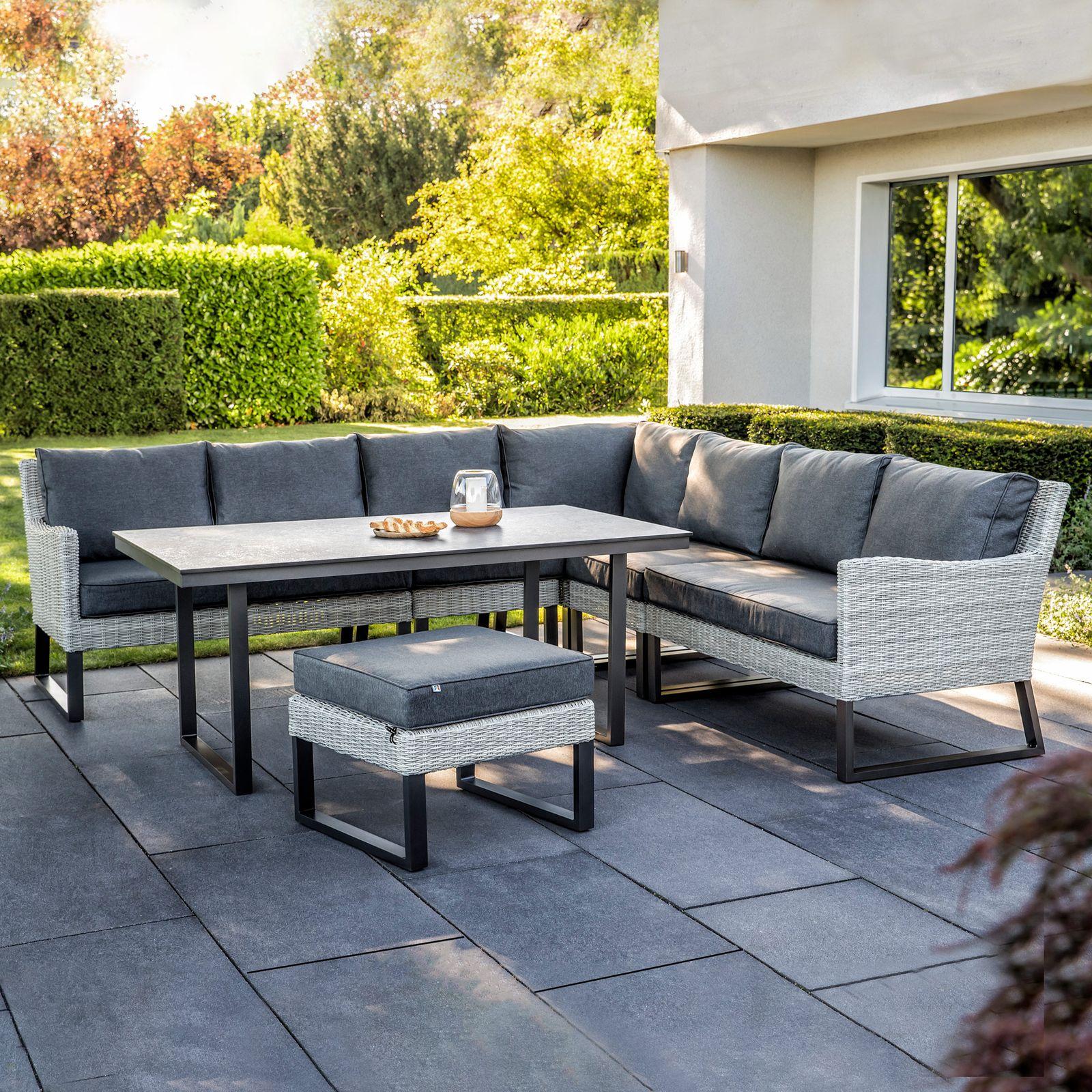 Conjunto de muebles de jardín de 6 módulos Palma gris-antracita KETTLER