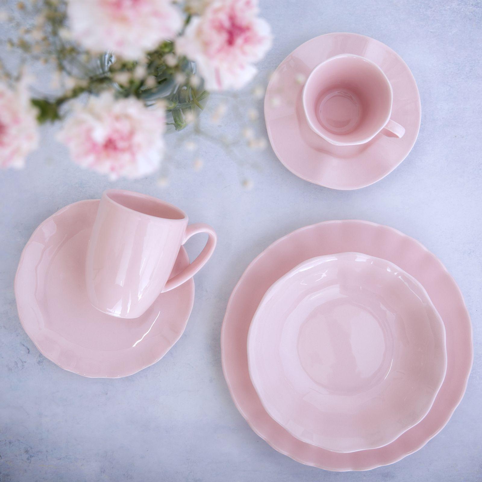 Serwis obiadowo-kawowy Diana Rustic Pink 36-elementowy AMBITION