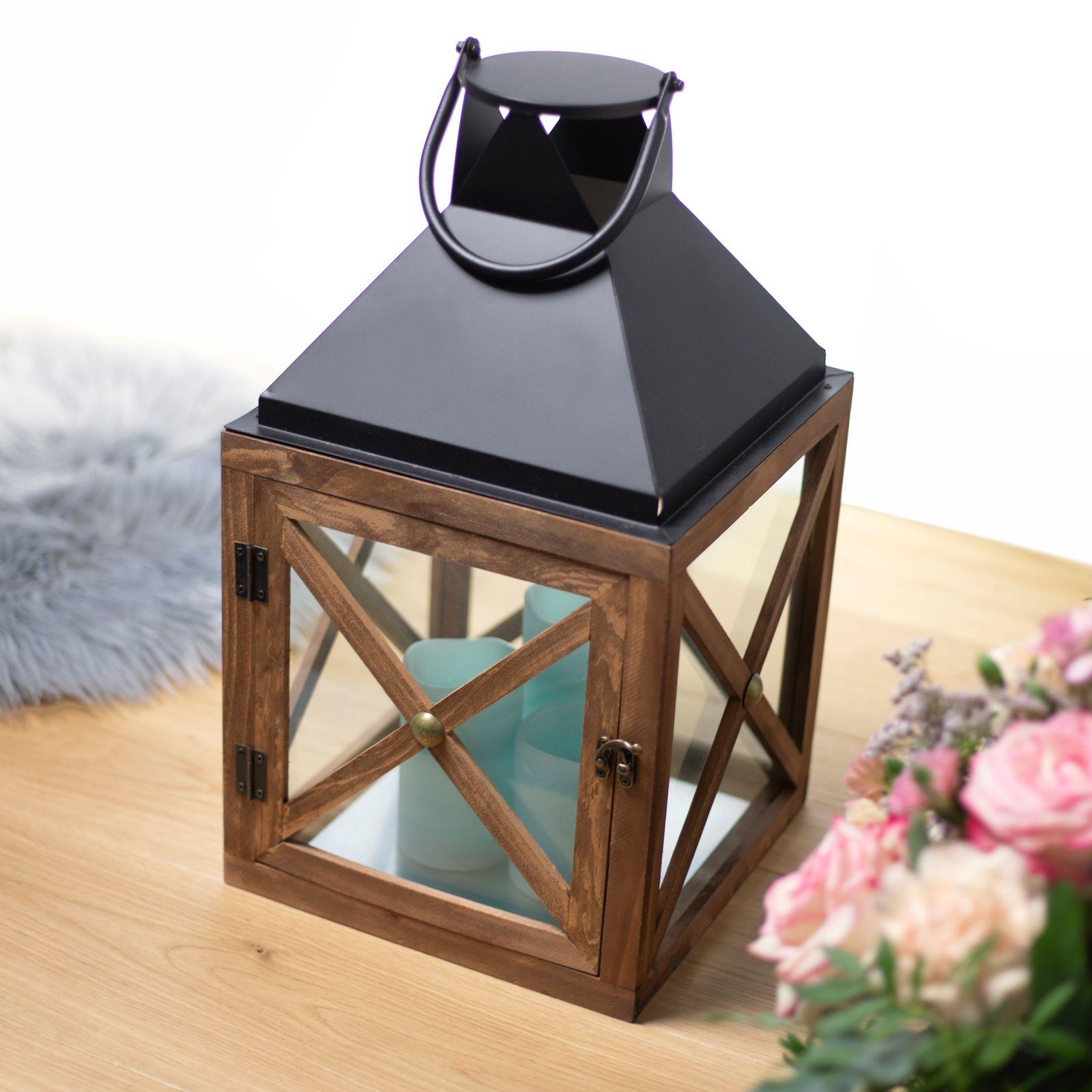 Lanterna Dark Wood 17,5 x 17,5 x 31 cm MY HOME