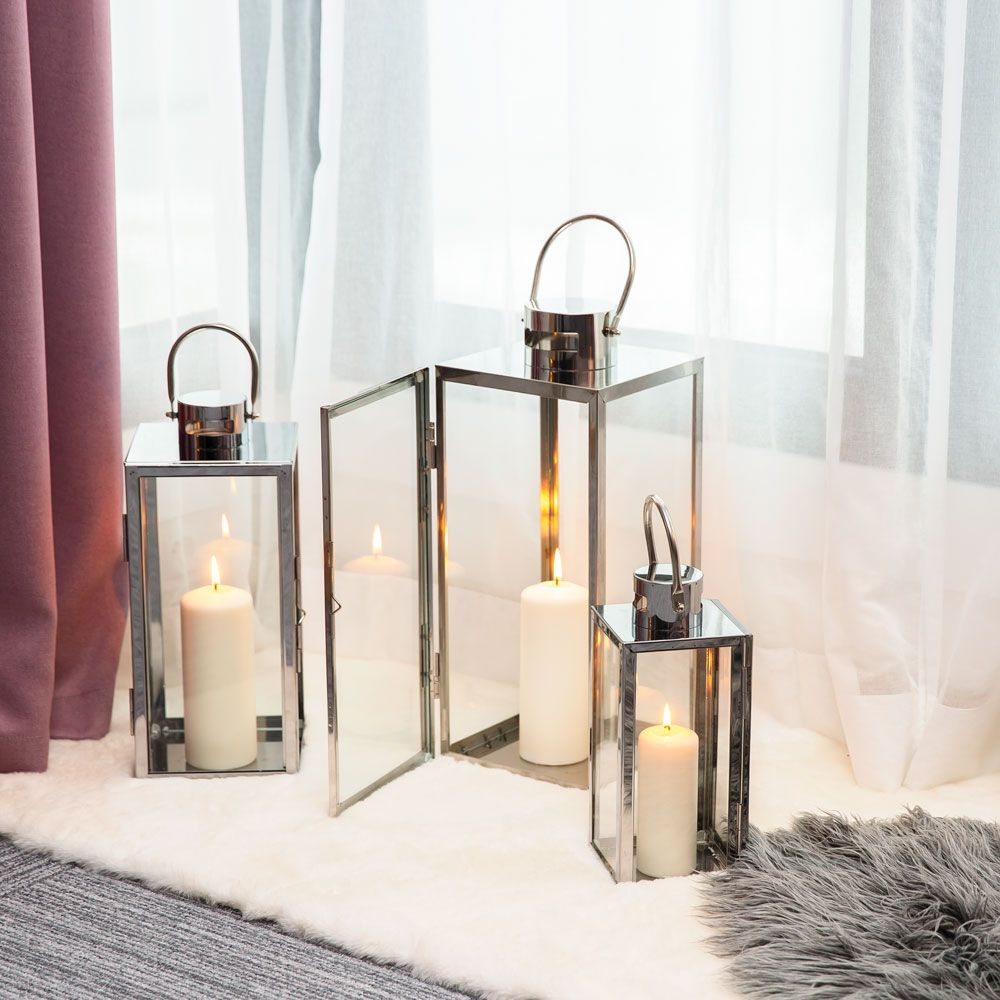 Lampion Decor Silver 16,5 x 18,5 x 40 cm MY HOME