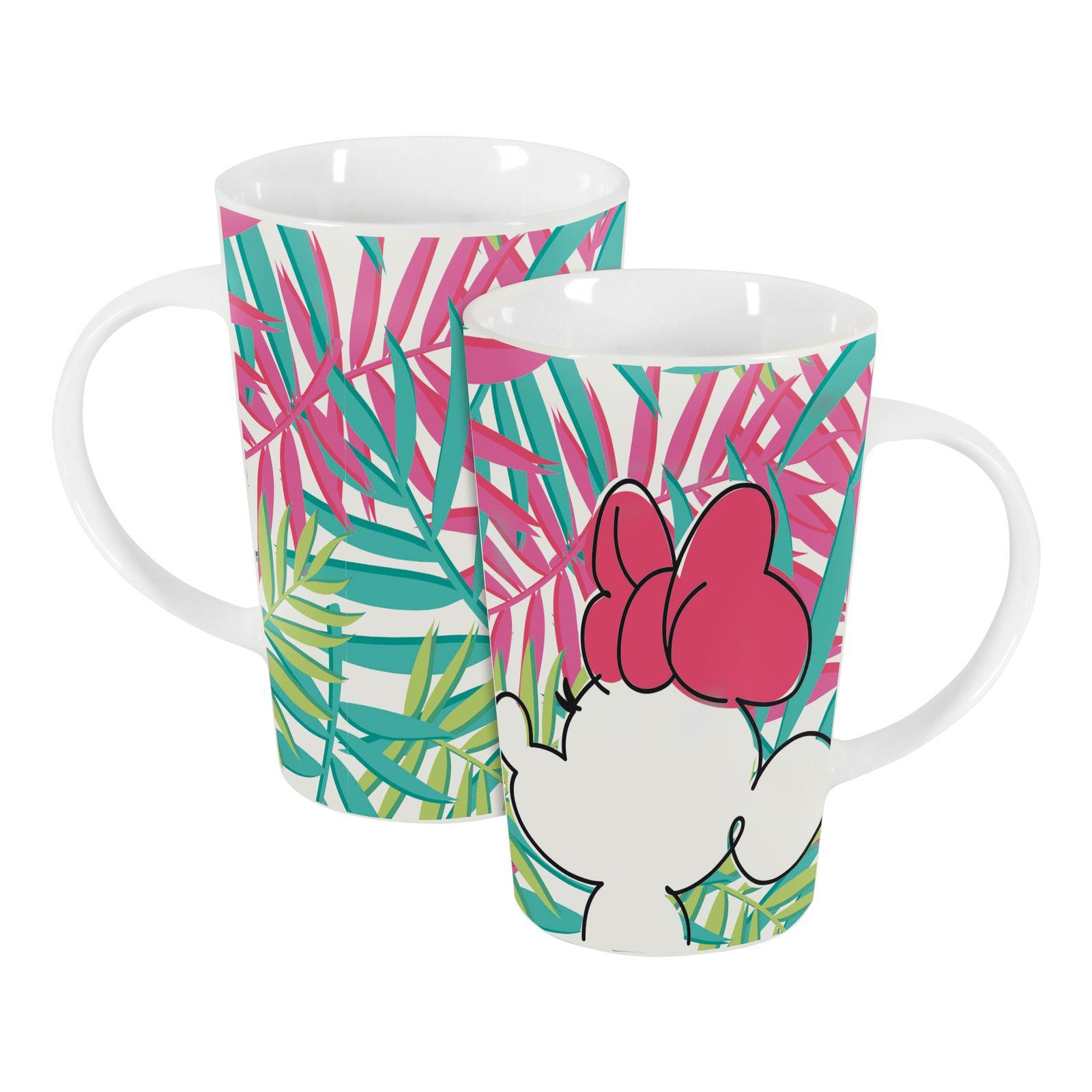 Tasse en porcelaine Minnie Tropical 43 cl Feuilles de palmier DISNEY / AMBITION