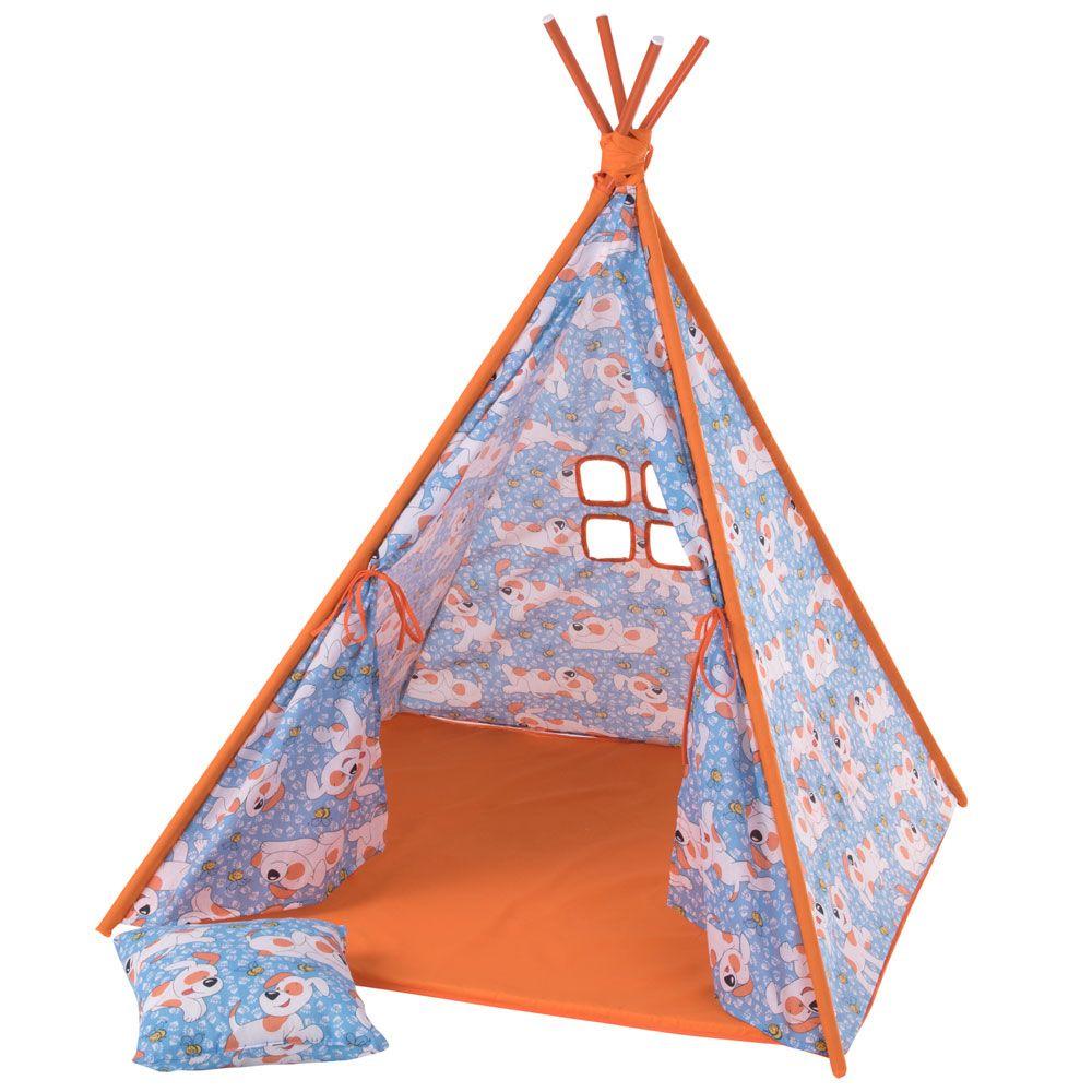 Namiot Tipi z poduszką i matą Pieski L065-13BW 104 x 104 x 124 cm PATIO