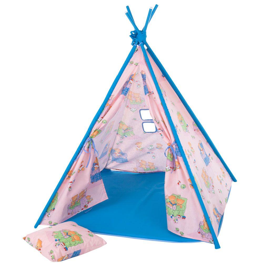 Namiot Tipi z poduszką i matą Misie L069-11BW 104 x 104 x 124 cm PATIO
