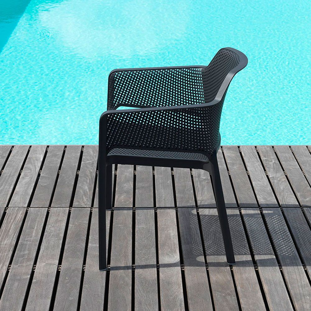Fauteuil empilable Net anthracite NARDI