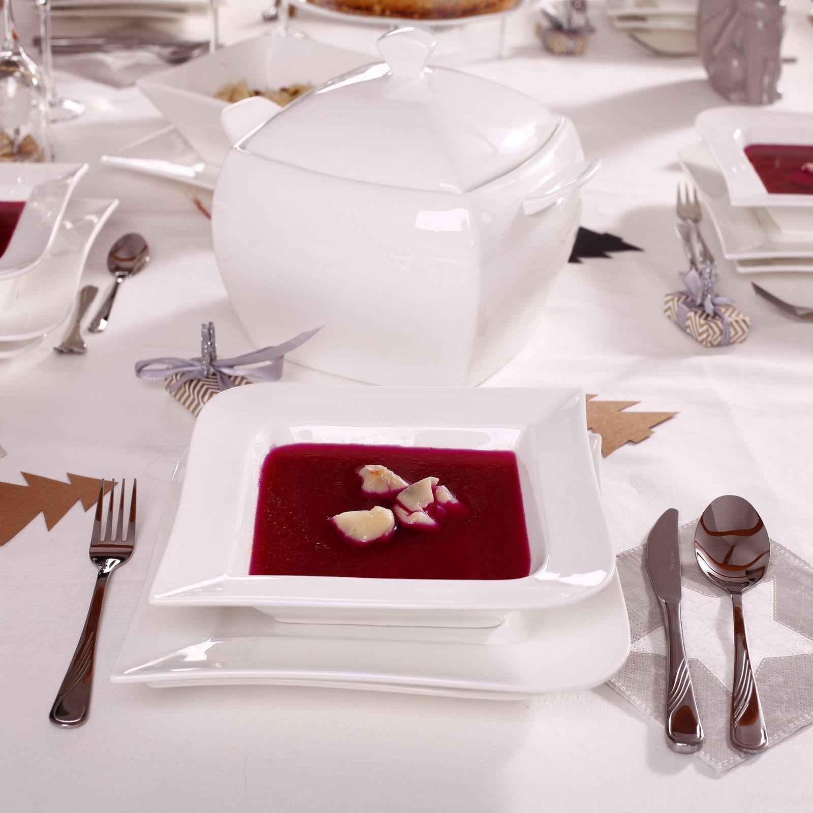 Serwis obiadowo-kawowy Fala 123-elementowy AMBITION + GRATIS