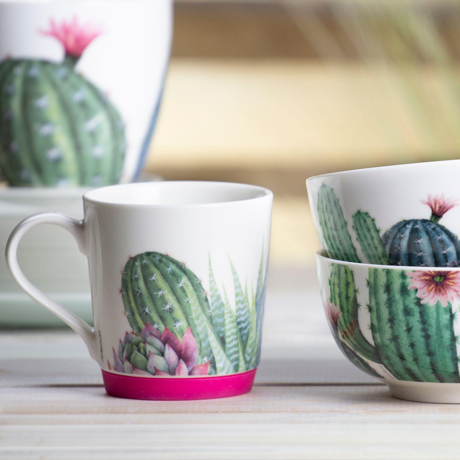 Kubek porcelanowy z silikonową podstawką Cactus 320 ml różowy AMBITION
